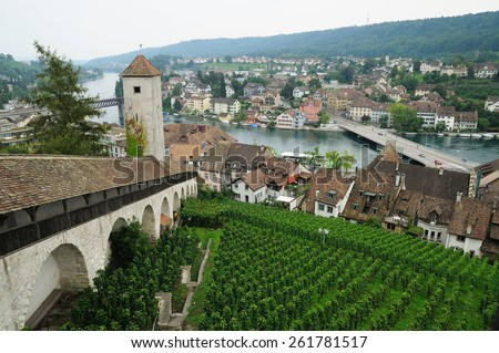 View from the famous Munot fortifiction. Schaffhausen, Switzerland. - stock photo