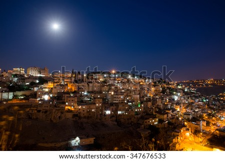 view from the height on the night of Jerusalem - stock photo