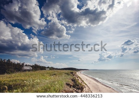 View from the High Coast of the sea - stock photo
