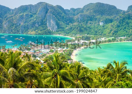 View from the highest viewpoint of Koh Phi-Phi Don island, Thailand  - stock photo