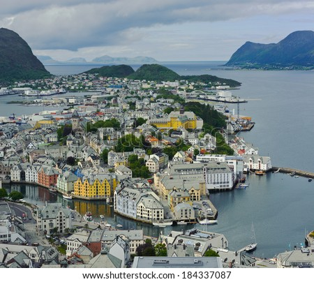 view from the mountain Aksla at the city of Alesund , Norway, panorama - stock photo