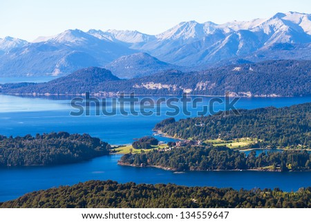 View from the mountain Lopez to the Villa  Llao Llao, Bariloche, Patagonia, Argentina - stock photo