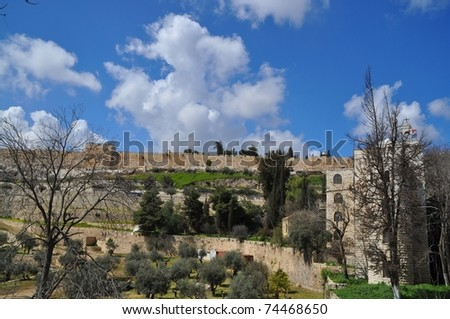 View from the Mountain of Olives on the old city of Jerusalem. Israel - stock photo