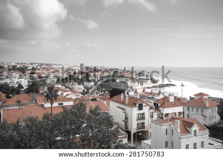 View from the mountain over the rooftops. The modern landscape. Portugal. Toned. - stock photo