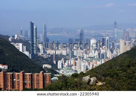 View from the mountain top, Hong Kong - stock photo