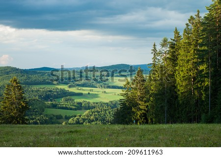 View from the mountains in Lipno - Czech Republic  - stock photo