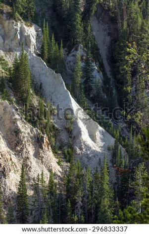 View from the North Rim of a rock wall in Grand Canyon of the Yellowstone River - stock photo