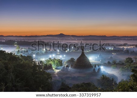 View from the Pagoda in MraukU, Myanmar. - stock photo