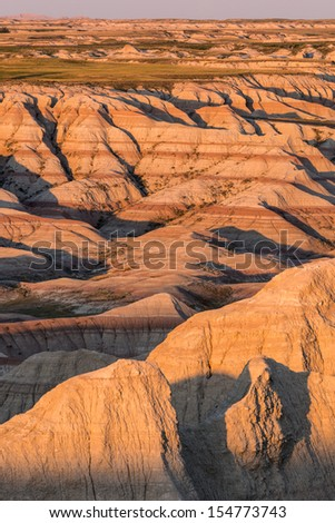 View from the Panorama Point Overlook in Badlands National Park in South Dakota  - stock photo