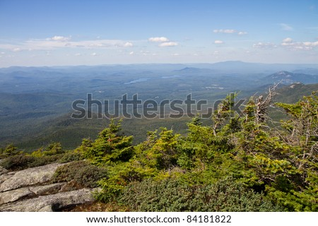 View from the peak of Whiteface Mountain - stock photo
