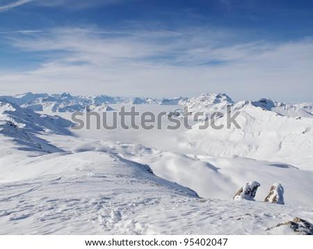View from the peak (Wissmeilen/Flumserberg) - stock photo