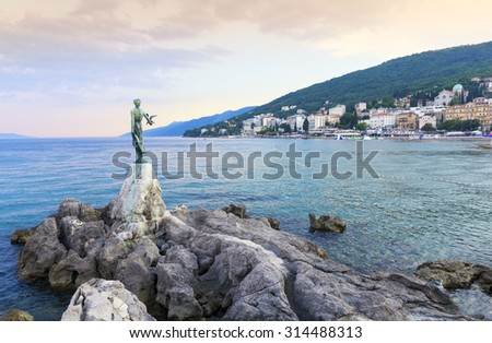 View from the Promenade of Opatija in Istria at evening,Croatia - stock photo