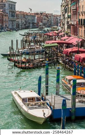 View from the Rialto Bridge on the Grand Canal, Venice, Veneto, Italy - stock photo