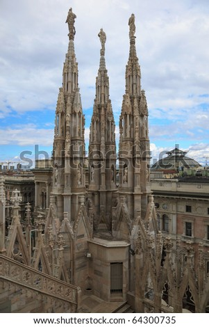 View from the roof of Duomo cathedral, Milan, Italy - stock photo