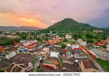 View from the roof on Phuket town, Thailand. - stock photo