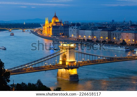 View from the royal hill to evening Budapest - stock photo