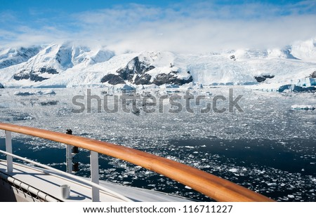 View from the ship to Antarctic bay - stock photo