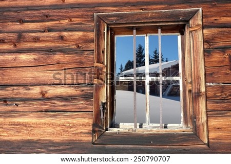 View from the ski hut in the Alps - stock photo