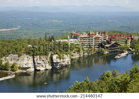 View from the Skytop on the Mohonk Mountain House Resort (built in 1879) and Mohonk Lake, Shawangunk Mountains, New York State, U.S.A.  - stock photo