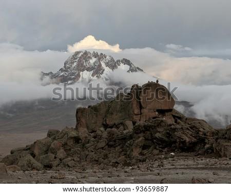 View from the slopes of Kilimanjaro peak Mawenzi - Tanzania, Africa - stock photo