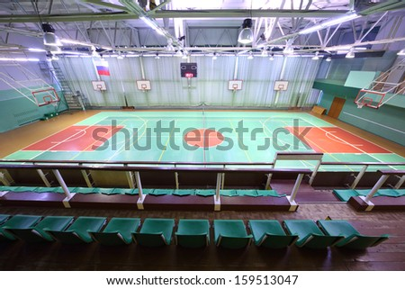 View from the spectator seats at the indoor athletic field - stock photo