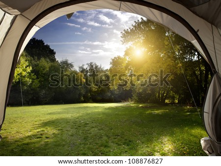 View from the tent at dawn in the woods - stock photo