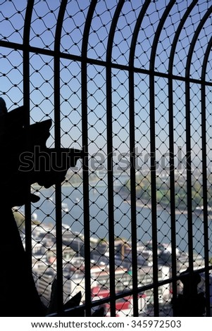 view from the top of Cologne Cathedral  - stock photo