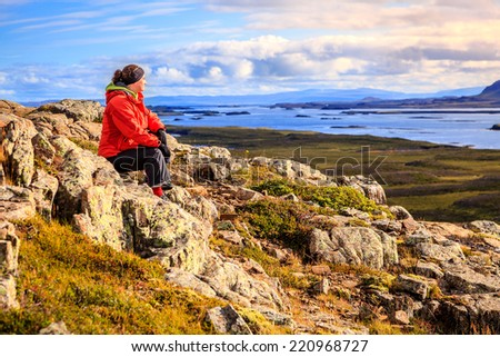 View from the top of Helgafell Mountain in western Iceland - stock photo