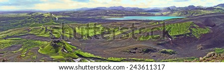 View from the top of Laki in Iceland for eruption craters  - stock photo