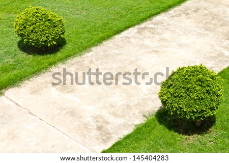 View from the top of the concrete pavement in a field with grass and shrubs alongside  - stock photo