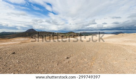 View from the top of the Namafjall, the vivid volcanic mountain near the lake Myvatn, Iceland. Panorama - stock photo