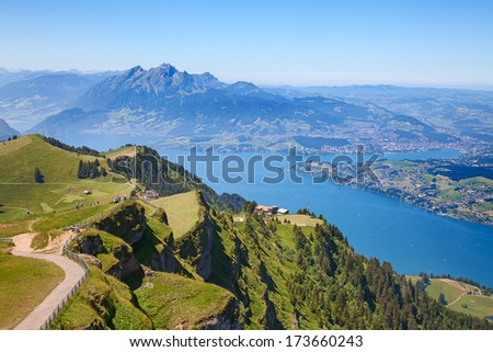 View from the top of the Rigi mountain - stock photo