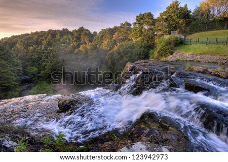 View from the top of Whangarei Falls, New Zealand - stock photo
