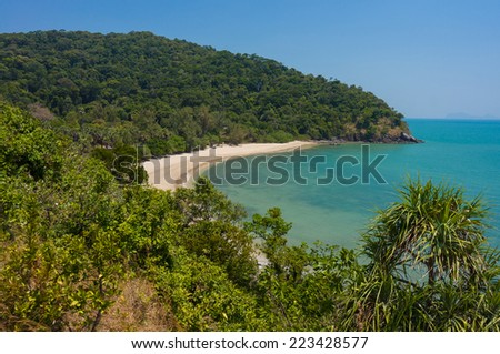View from the top to lone tropical beach on Koh Lanta Yai island - stock photo