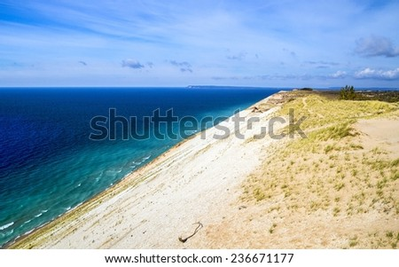 View From The Top. View from the top of the Sleeping Bear Dunes National Lakeshore located in Empire, Michigan. - stock photo