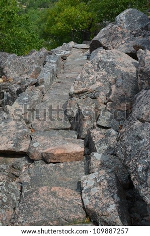 View from the trails on Champlain Mountain in Acadia National Park - stock photo