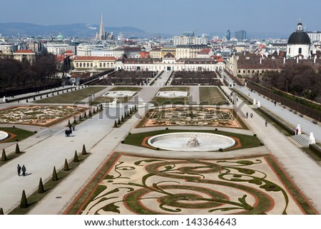 View from the upper Belvedere Palace to the lower palace in Vienna, Austria - stock photo