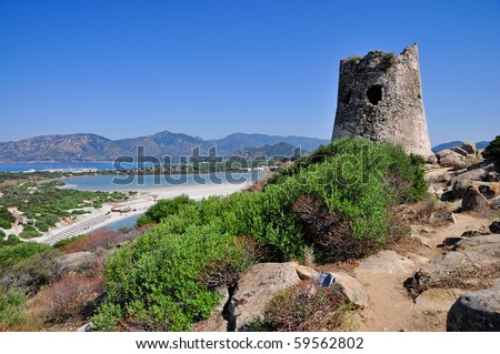 View from the watchtower Spanish, Porto Giunco, Villasimius, Sardinia, Italy. - stock photo