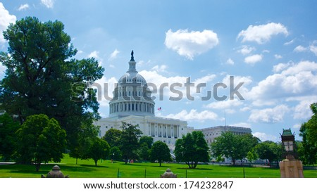 View from the western lawn of the United States Capitol building. - stock photo