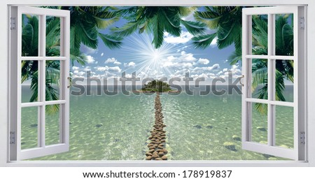 View from the window, on a tropical island - stock photo