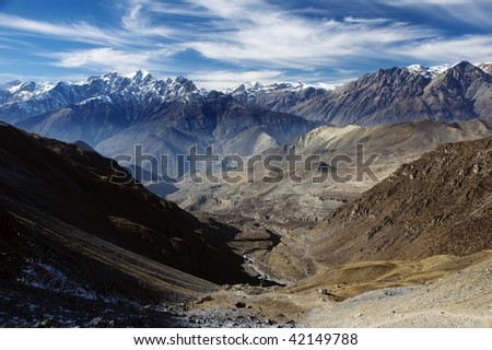 View from Thorung la Pass.  Annapurna Conservation Area. Nepal - stock photo