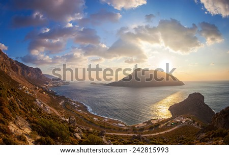 View from top of a hill at sunset, Kalymnos island, Greece  - stock photo