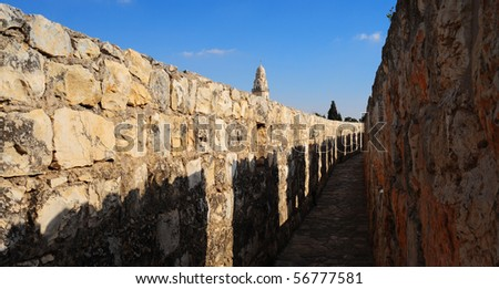 View From Top Of Ancient Walls Surrounding Old City in Jerusalem - stock photo
