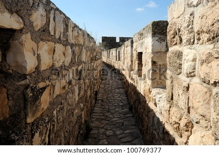 View From Top Of Ancient Walls To Tower Of David. Jerusalem - stock photo