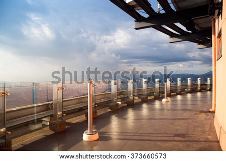 View from TV tower in Kuala Lumpur, Malaysia during sunset time. - stock photo