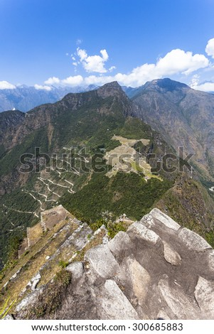 View from Waynapicchu to Machu Picchu and bus road, was designed Peruvian Historical Sanctuary in 1981 and a World Heritage Site by UNESCO in 1983. - stock photo