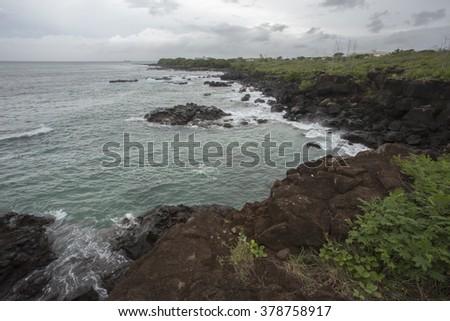 view from zako beach in mauritius - stock photo