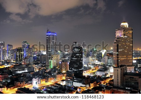 view in bangkok city at night,city scape - stock photo