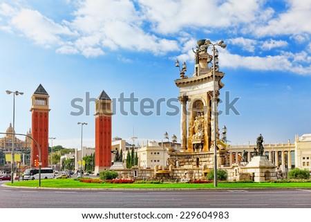 View in Barcelona on Placa De Espanya( Square of Spain),Spain. - stock photo