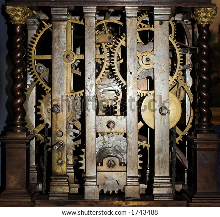 View inside a large antique clock - stock photo